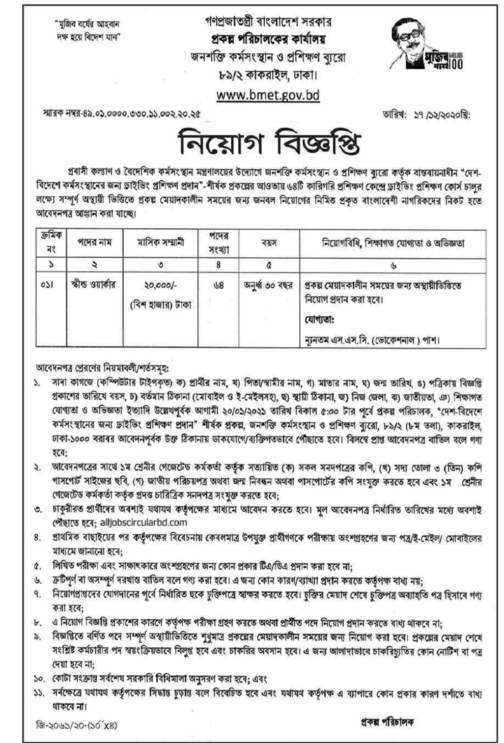 Bureau of Manpower Employment and Training Job Circular