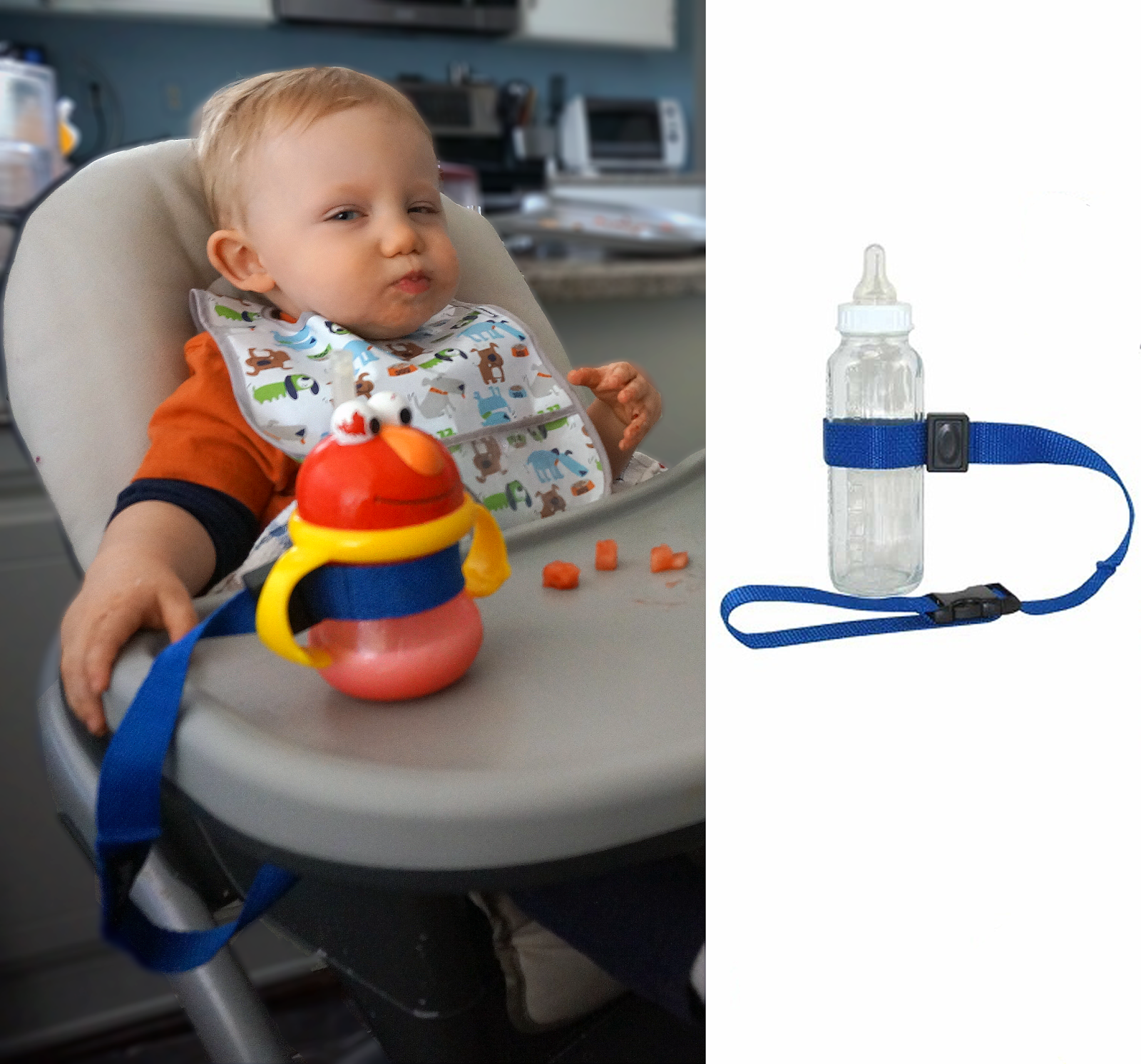 Toddler Must Haves - a bottle and toy strap to keep your kid from playing the throwing game.
