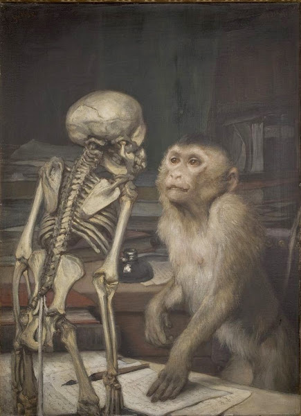 Monkey before Skeleton, Gabriel Cornelius von Max, Macabre Art, Macabre Paintings, Horror Paintings, Freak Art, Freak Paintings, Horror Picture, Terror Pictures