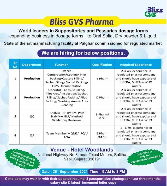 Bliss GVS Pharma | Walk-in for Production/QC/QA on 26th Sept 2021