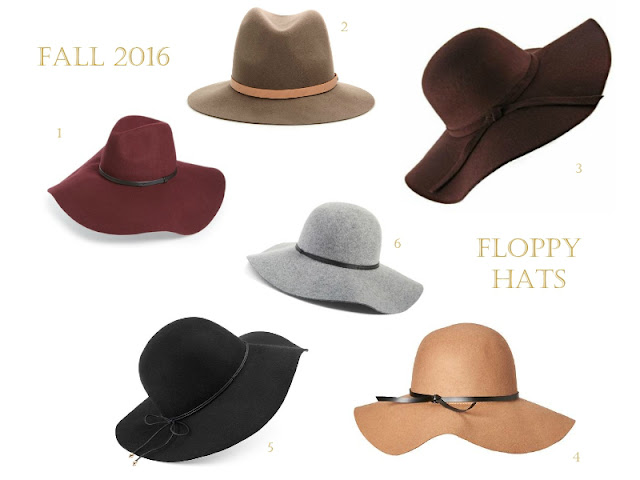 6 burgundy, tan, olive, brown black and grey wool floppy hats