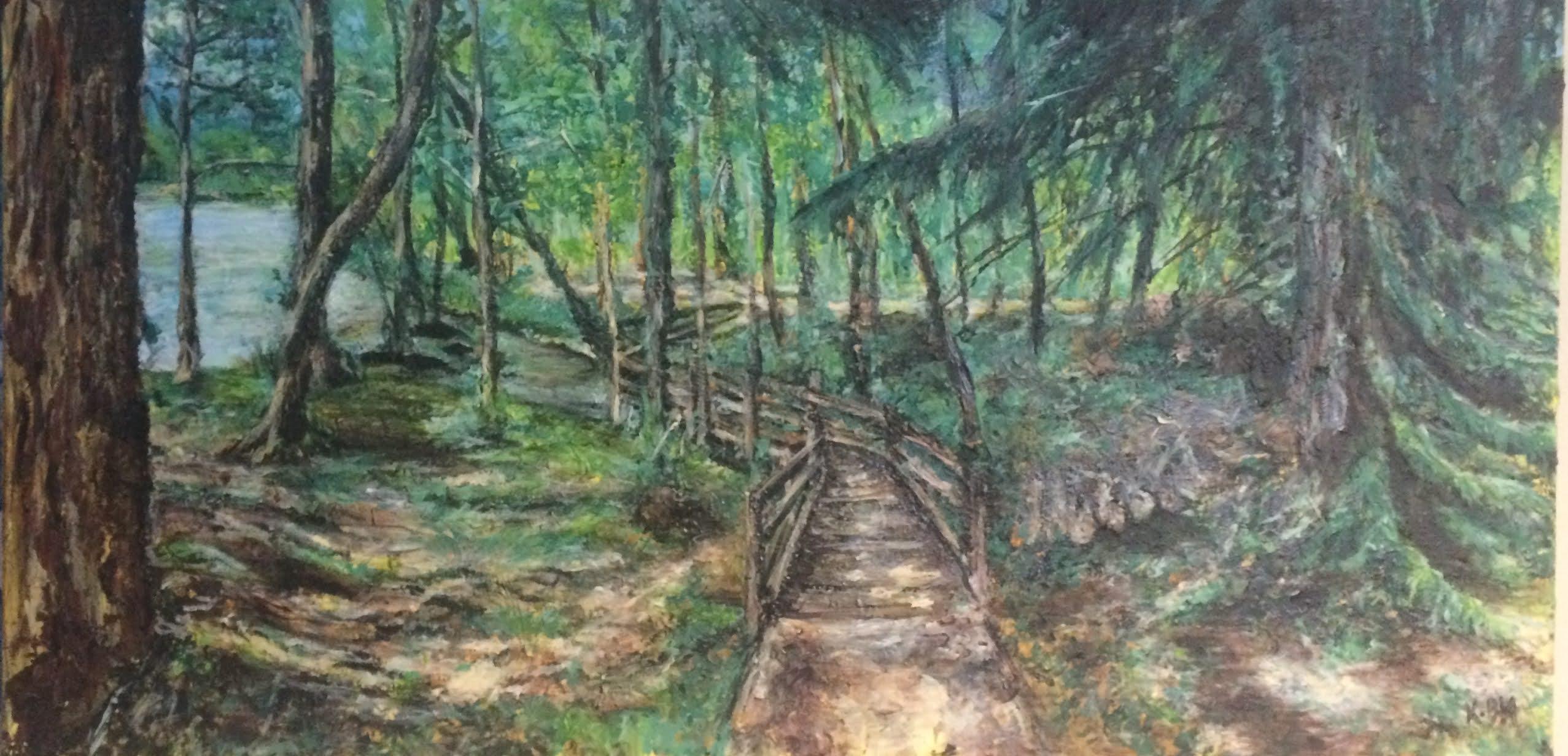 Karine Babel a peint l'étang de Saint-Estèphe près de Nontron en Dordogne