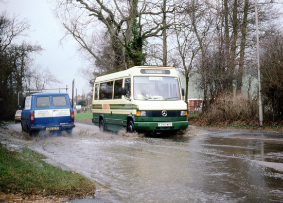 Photograph of a Potters Bar bus at Watersplash, Station Road, January 1990 Image from Ron Kingdon,
