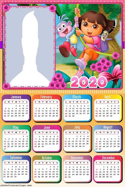 Dora la Exploradora: Calendario 2020 para Imprimir Gratis.