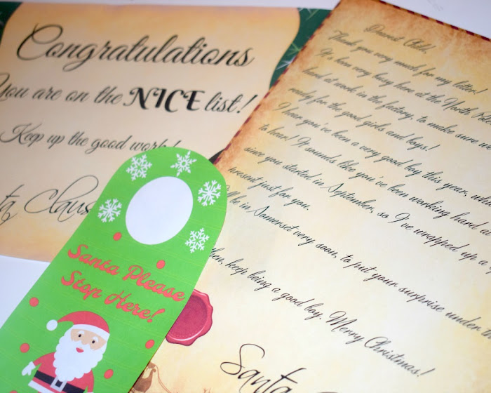 Free Christmas Printables! {Santa Letter, Door Hanger And Nice Certificate}
