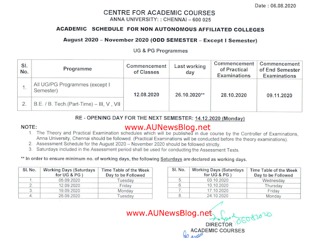 Anna University Academic Schedule for Nov Dec 2020 (2nd, 3rd & Final Year)
