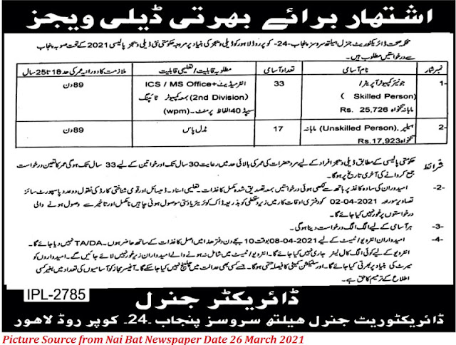 Health Department Directorate General Health Services Punjab Jobs 2021 Latest