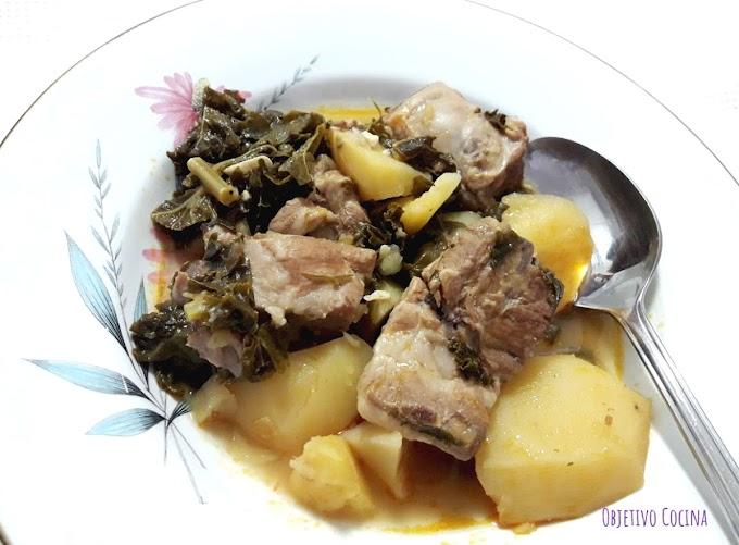 Patatas con costillas y kale