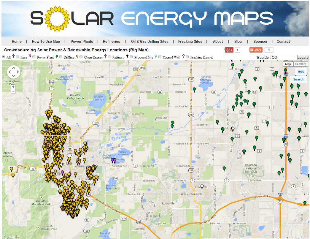 Solar Energy Data Visualization Map Of Solar Vs Fossil