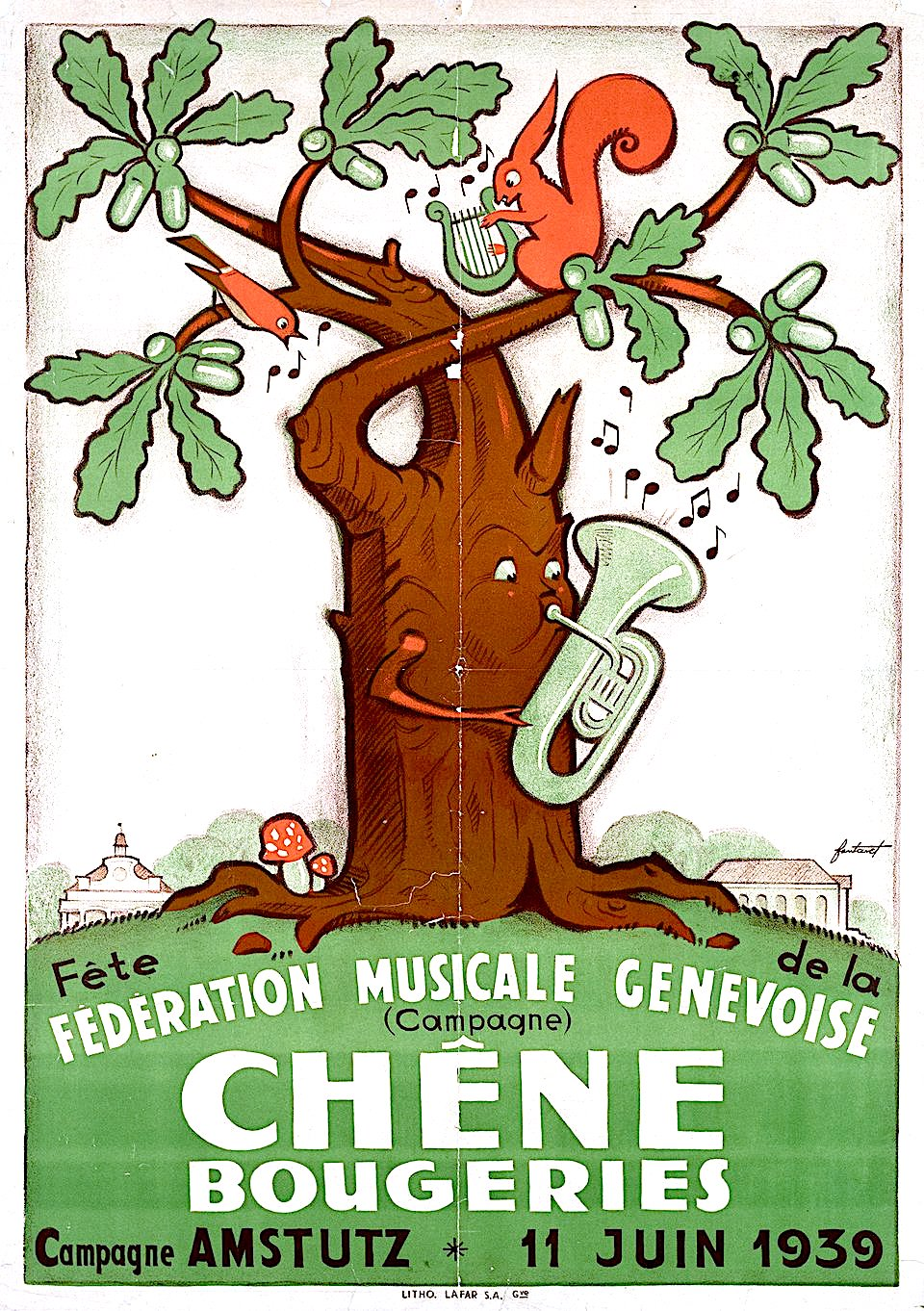 a Noel Fontanet 1939 poster for Chene Bougeries