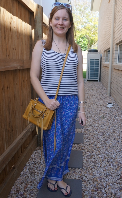 printed floral maxi skirt with striped tank and yellow rebecca minkoff micro regan bag | away from blue