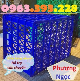 Sóng nhựa hở 8 bánh xe, sọt nhựa rỗng HS022, sọt rỗng công nghiệp 8 bánh 8bx4