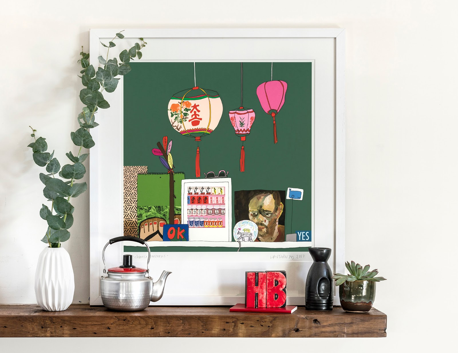 Sitting pretty in this shelfie is Hannah Broadway's framed Chinese Lantern print, from a series about what makes our homes homely.