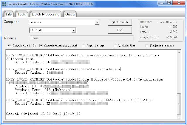 Programma LicenseCrawler recupero codici attivazione