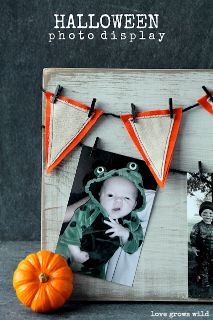 Make this fun and festive Halloween Photo Display to show off pictures of your little ones all dressed up in their costumes! A great piece of decor to bring out year after year!