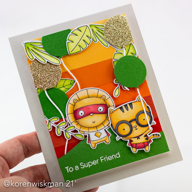 My Favorite Things, Koren Wiskman, card making, stamping, die-cutting, coloring, super friends, safari, balloons, stax, green, red, yellow, gold, black, leaves, glasses