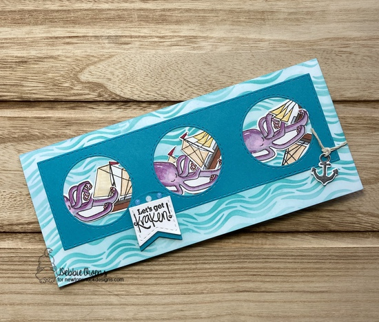 Let's Get Kraken by Debbie features Message in a Bottle, Waves, and Slimline Frames & Portholes by Newton's Nook Designs; #newtonsnook