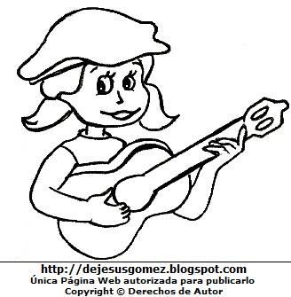 Dibujo de niña feliz tocando la guitarra para colorear pintar imprimir por Jesus Gómez