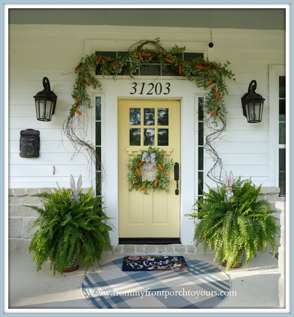 Yellow-Front-Door-Cottage -Farmhouse -Easter -Front -Porch- Decor-From My Front Porch To Yours