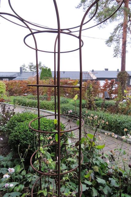 Høstfarger i vinterhagen, det går mot vår. Fra klatrestativet ved inngangspartiet og utover hagen. Furulunden IMG_0036