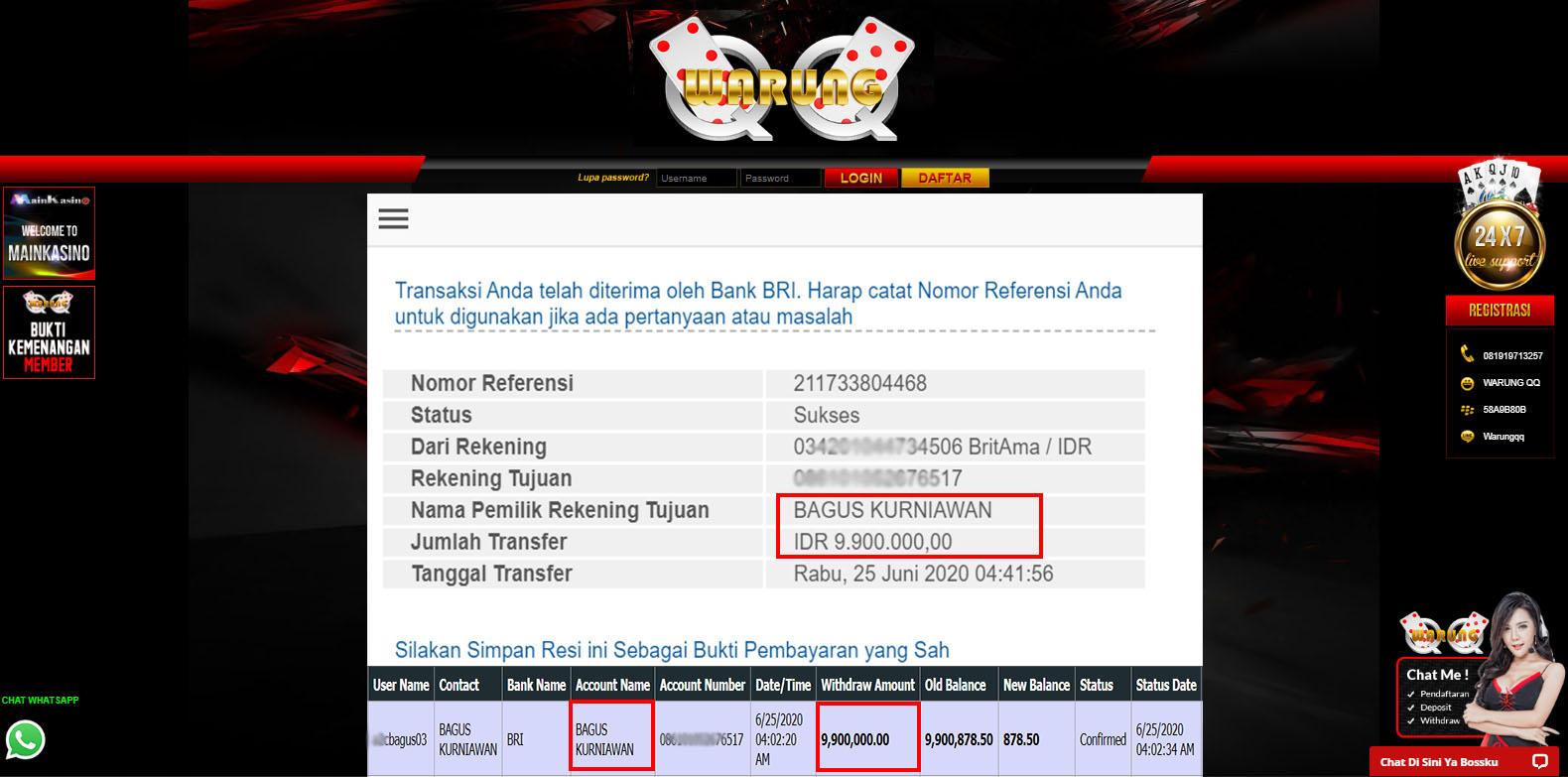 Selamat Kepada Member Setia WARUNGQQ Withdraw RP 9.900.000