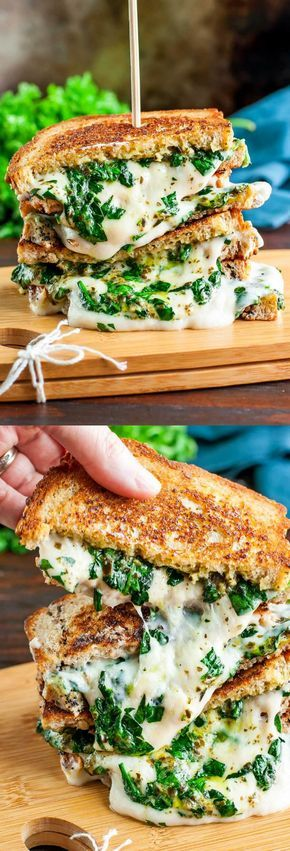 EASY CHEESY VEGAN SPINACH PESTO GRILLED CHEESE #cheesy #vegan #veggies #veganrecipes #vegetarianrecipes #spinach #pesto #grilled #