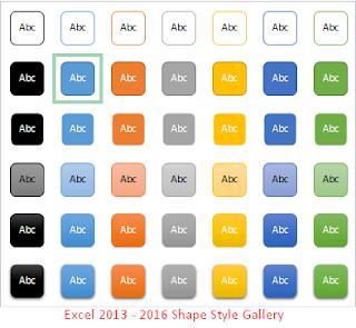 Excel 2013 - 2016 Galeri Gaya Bentuk