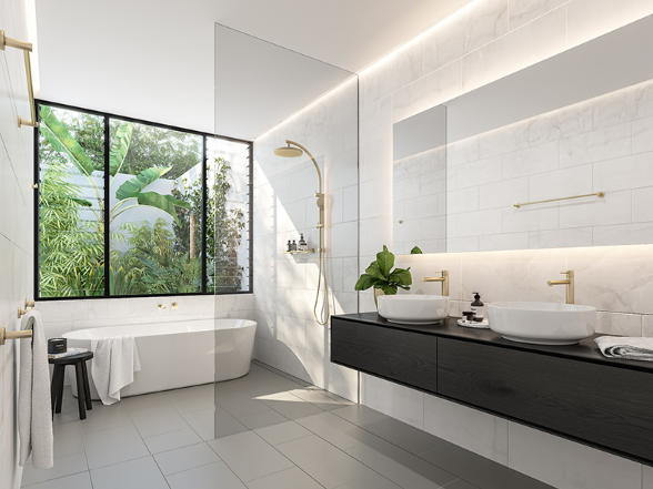 Bathroom with wide windows and views from the private courtyard.