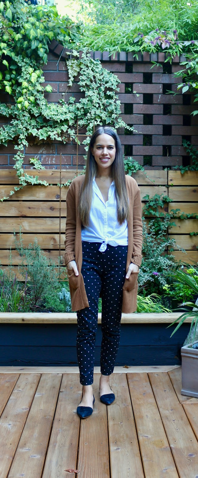 Jules in Flats - Old Navy High Waisted Pixie Polka Dot Pants (Business Casual Workwear on a Budget)