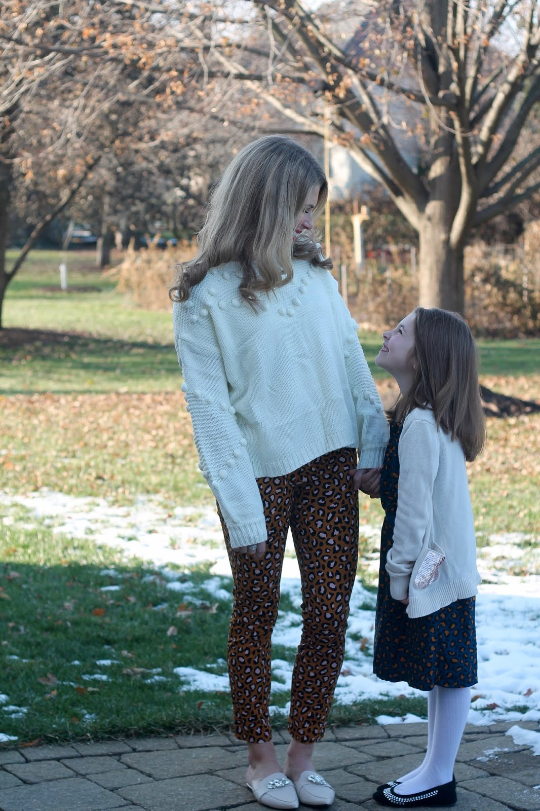 mommy & me thanksgiving, leopard pants, pixie pants, white pom pom sweater, monogram necklace, jeweled nude flats,