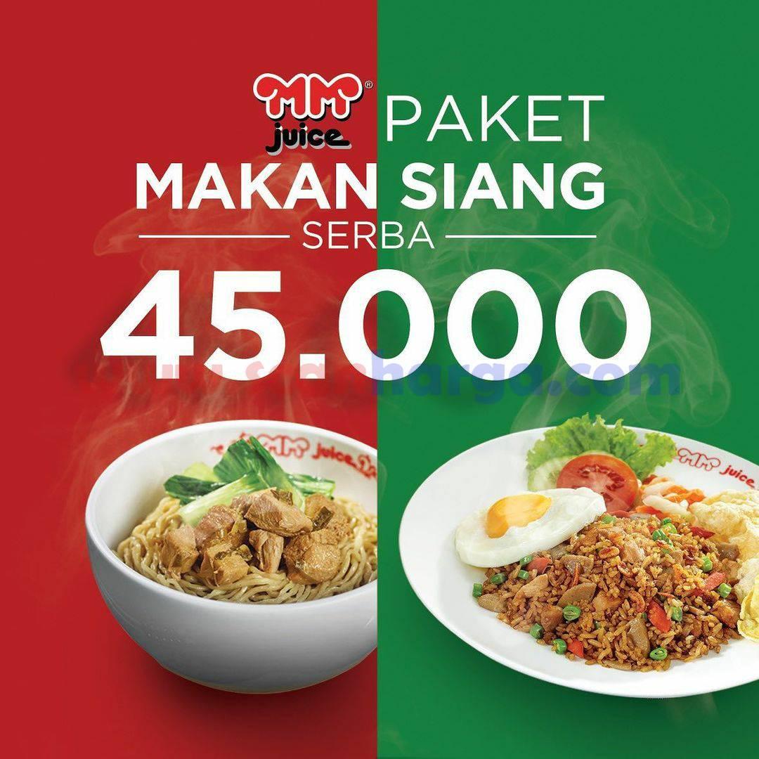 Promo MM Juice Paket Makan Siang 1 Makanan + 1 Minuman cuma Rp 45.000