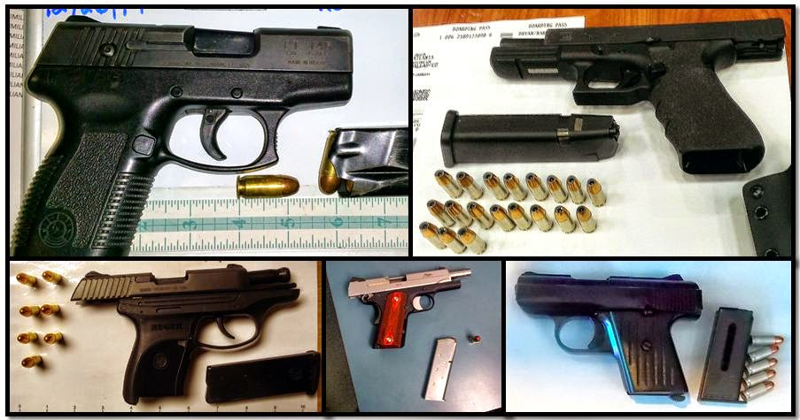 Loaded firearms discovered in carry-on bags at (Clockwise from top left) FLL, ATL, HOU, DTW & SAT