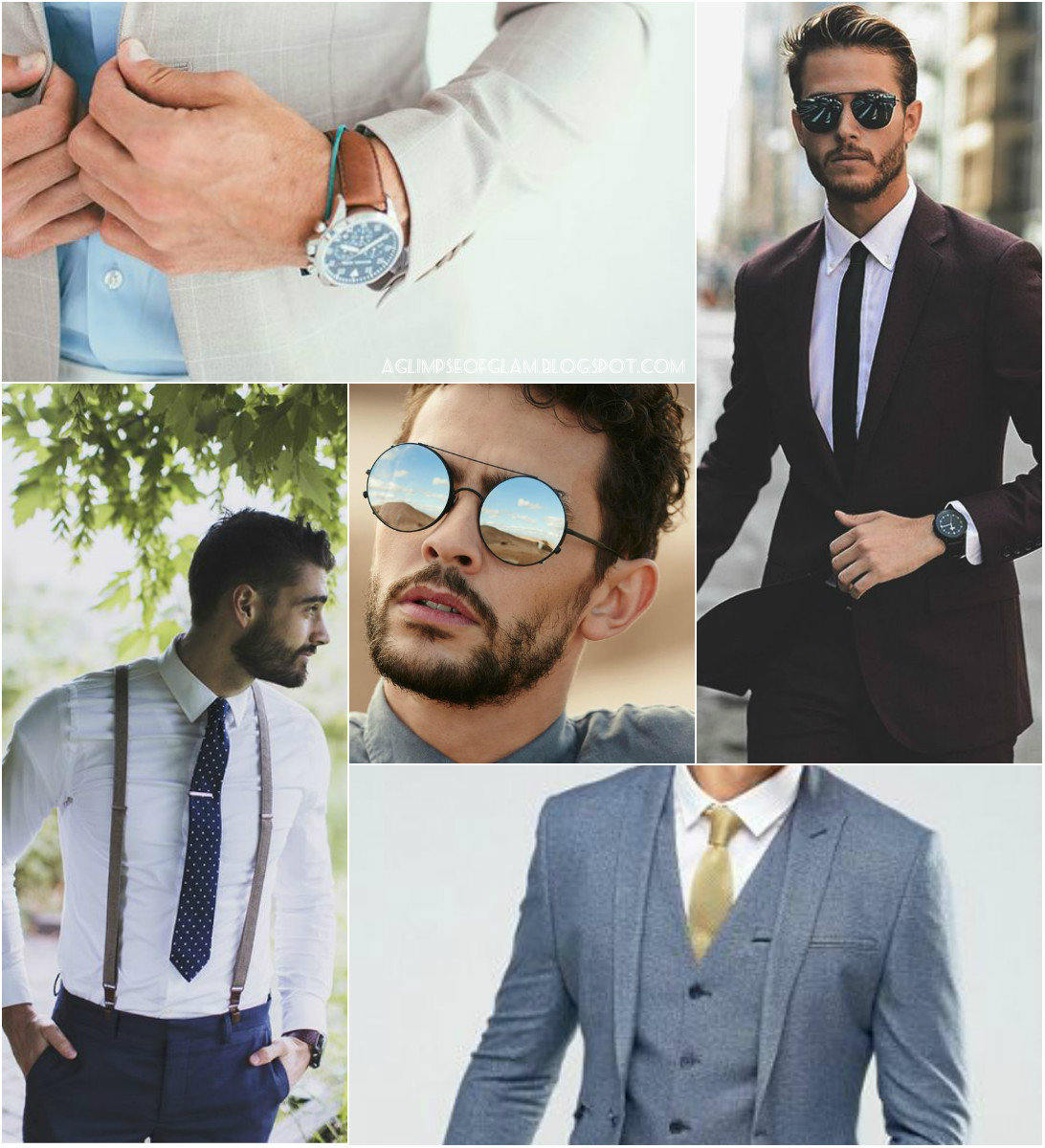 A Glimpse of Glam, Style Inspiration, Summer Events, Men's Style, Suits, Ties, Sunglasses, Accessories, Prints, Dressing Up, Suspenders - Andrea Tiffany