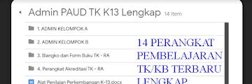 Perangkat Pembelajaran TK/Paud/RA K13 Revisi Terbaru Lengkap