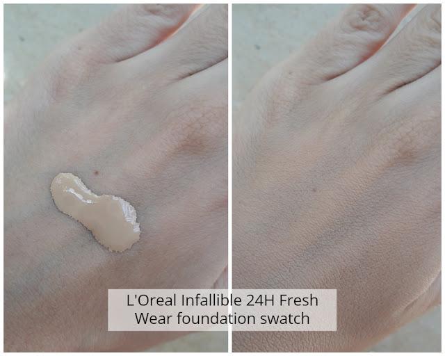 swatch du fond de teint infaillible 24h fresh wear de l'oreal