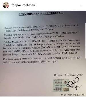 Fadjroel Rachman Sebarkan Hoaks Terkait Permintaan Maaf Petani Bawang dari Brebes