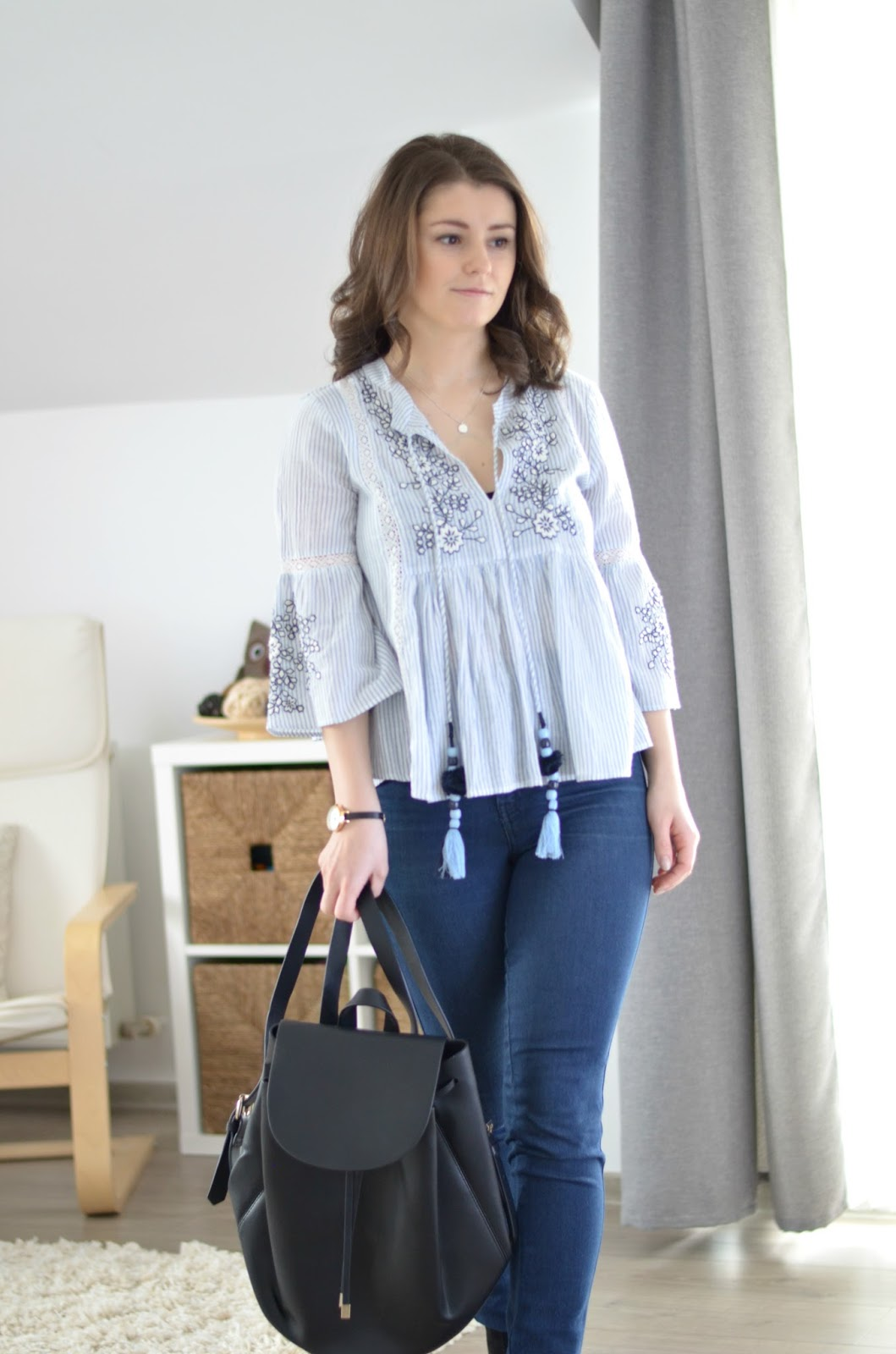 blue embroidered blouse outfit from Zara