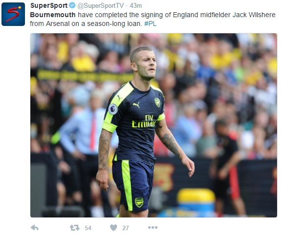 Twitter trolls Jack Wilshere as midfielder signs for Bournemouth