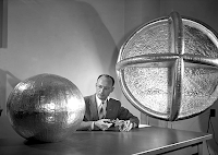 Engineer W.J. O'Sullivan, Jr. with a 20 Inch Sub satellite
