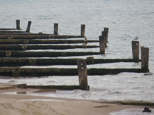 old jetties on Lake Michigan