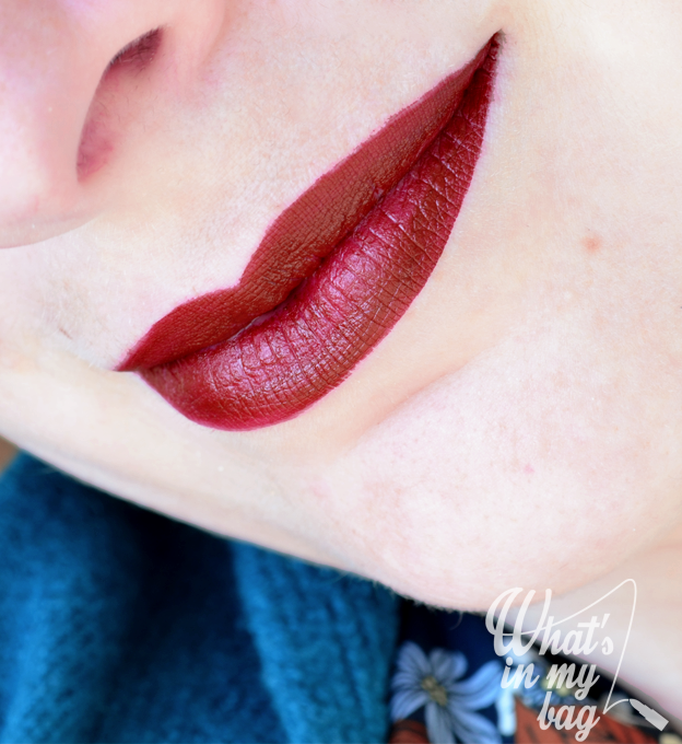 Nyx liquid suede Cherry skies swatch
