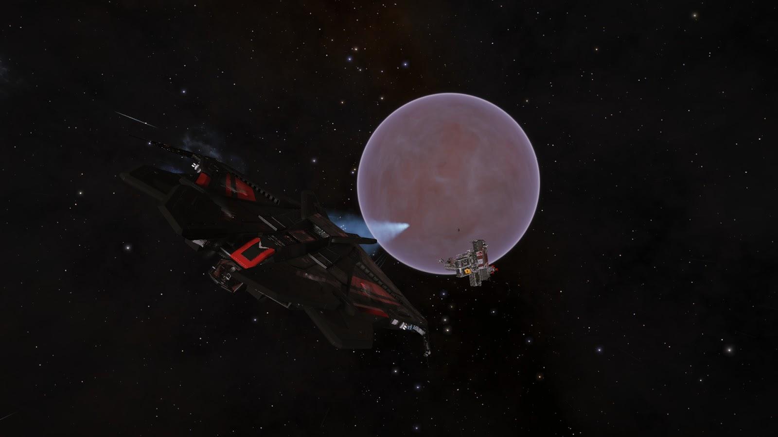 Elite Dangerous - űrhajó egy bolygóval és egy űrállomással a háttérben