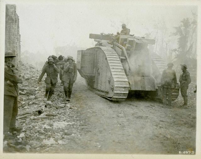 Canadian tank in 1918 worldwartwo.filminspector.com