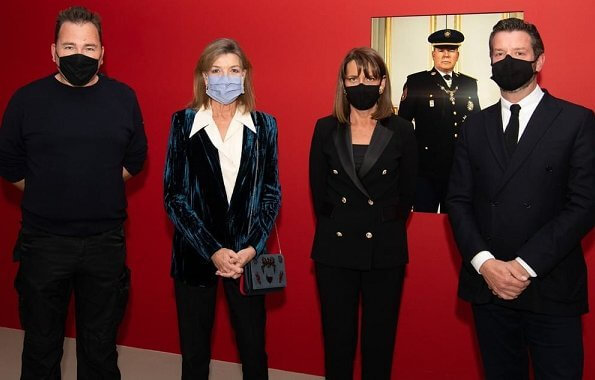 Princess Caroline of Hanover visited the exhibition Monaco Portraits Films by Charles Freger at Salle d'Exposition du Quai Antoine Ier