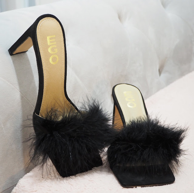Fluffy black Ego heels lovelaughslipstick blog