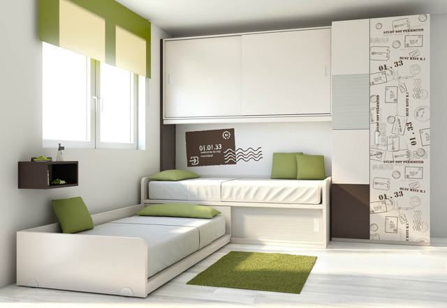 Dormitorios juveniles en colores arena - Habitaciones juveniles 2 camas ...