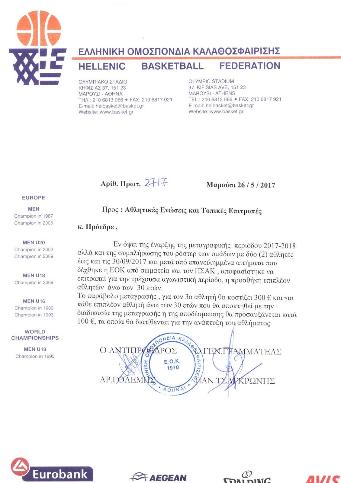 Το νέο μετεγγραφικό πλαίσιο των 30άρηδων από την ΕΟΚ