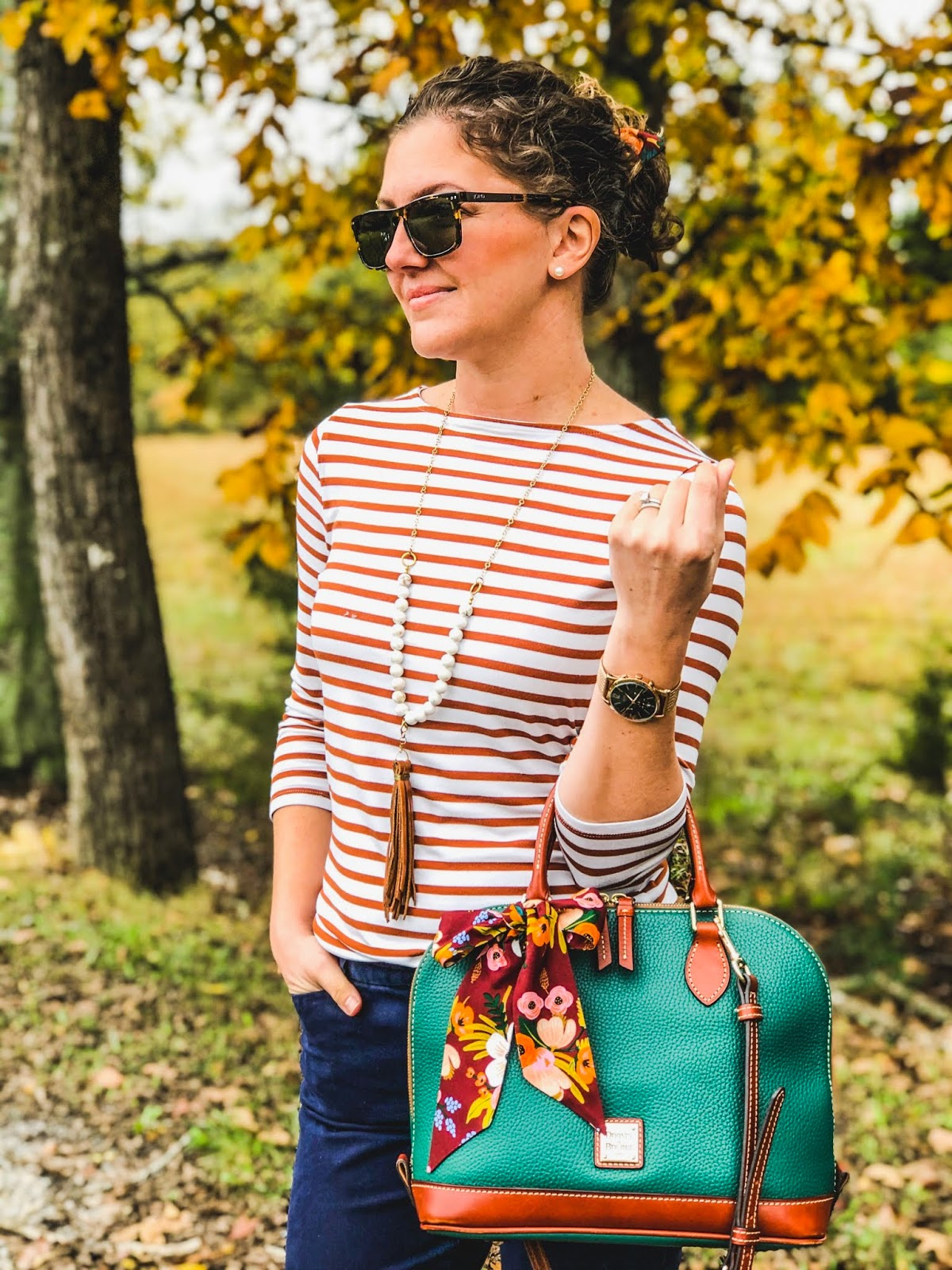 Cute fall outfit, JORD giveaway, JORD sunglasses, Dooney & Bourke, Daisy Faye Designs, Camel mules, Seychelles mules, Target shirt, Gap pants