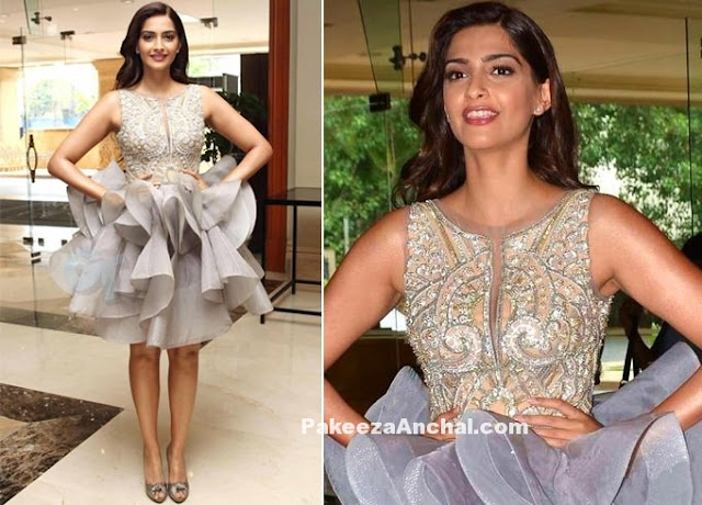 Sonam Kapoor in Ruffled Short Skirt at L'Oreal
