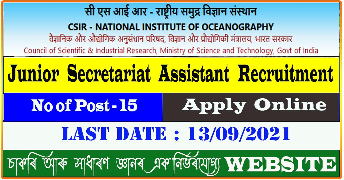 NIO Recruitment 2021 - Junior Secretariat Assistant